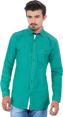 Grey Booze Men's Solid Casual Green Shirt