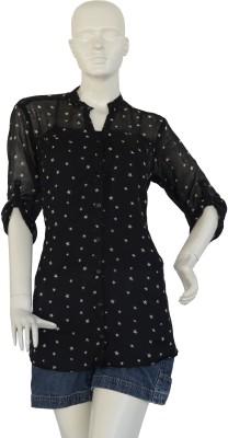 Jupi Women's Self Design Casual Black, White Shirt