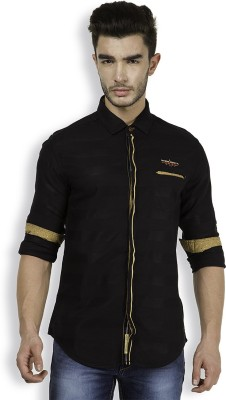 The Indian Garage Co. Men,s Striped Casual Black Shirt
