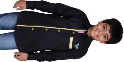 Kiaraa Boy's Solid Casual Black Shirt