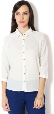 Van Heusen Women's Solid Formal White Shirt