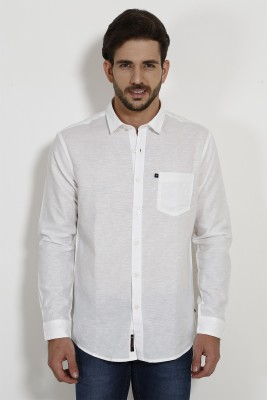 SIN Men's Solid Casual Linen White Shirt