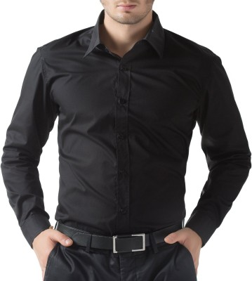 You Forever Men's Solid Formal Black Shirt