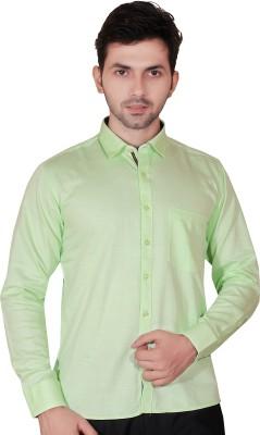 Fabrobe Men's Self Design Casual Green Shirt