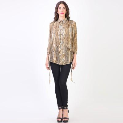 Vvine Women's Printed Casual Brown Shirt