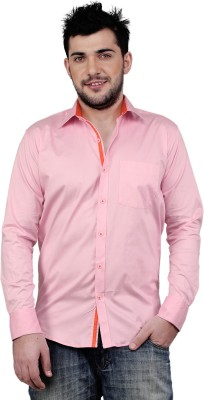 Zeal Mens Solid Casual Pink Shirt