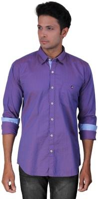Dave Men's Striped Casual Purple Shirt