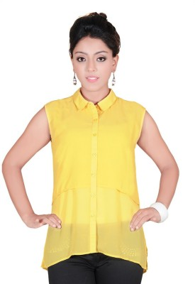 Soul River Women's Solid Casual Yellow Shirt
