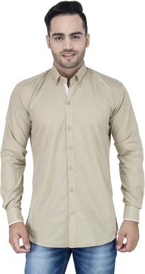 Stylox Men's Solid Casual Beige Shirt
