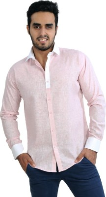Just Differ Men's Solid Casual Pink, White Shirt