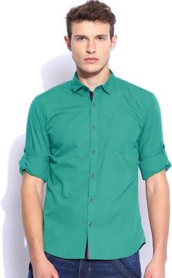 Zavlin Men,s Solid Casual Dark Green Shirt