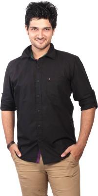 Ecohawk Men's Solid Casual Black Shirt