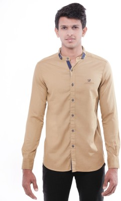 Enovate Men's Solid Casual Beige Shirt