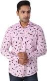 Regza Men's Printed Casual Pink Shirt