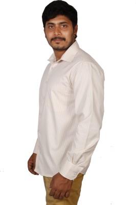 BlackBird Men's Striped Formal Yellow, White Shirt