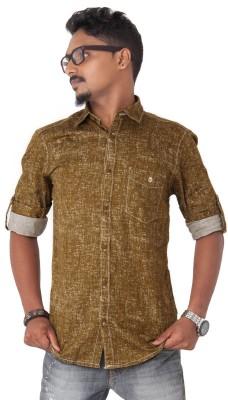 Passion Men's Printed Casual Brown Shirt