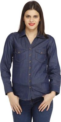 Cottinfab Women's Solid Casual Denim Blue Shirt
