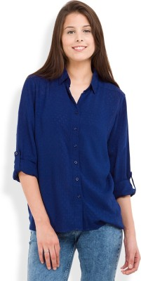 Tokyo Talkies Women's Solid Casual Dark Blue Shirt