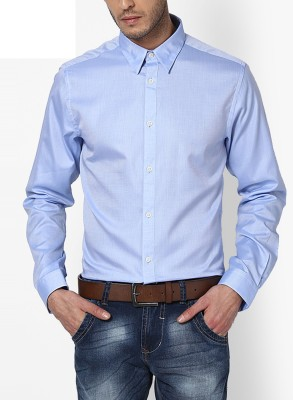 Jack & Jones Men's Solid Casual Blue Shirt