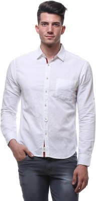Sera Men,s Solid Casual Linen White Shirt