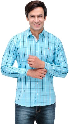 Nexq Men's Checkered Casual Blue, White Shirt