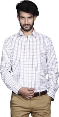 Yorkshire Men's Checkered Formal White Shirt