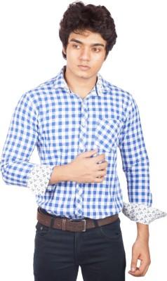 A Flash Men's Checkered Casual Blue, White Shirt