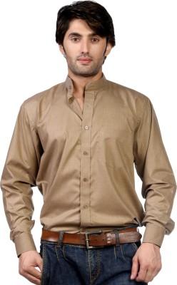 Hugo Chavez Men's Solid Formal Brown Shirt
