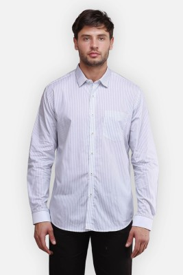 four one oh Men's Striped Formal Blue Shirt