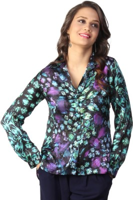 Love From India Women's Printed Casual Green, Black Shirt