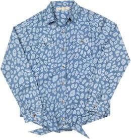 Chemistry Girl Girls Printed Casual Blue Shirt