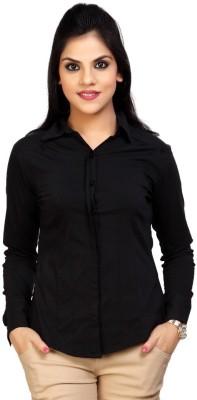 Carrel Women's Solid Formal, Casual Dark Blue Shirt