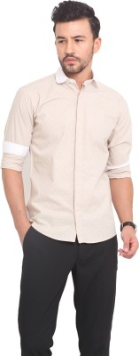 Exitplay Men's Printed Casual Beige, White Shirt