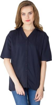 Instinct Women's Solid Casual Blue Shirt