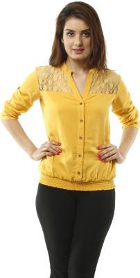Lynda Women's Solid Casual Yellow Shirt