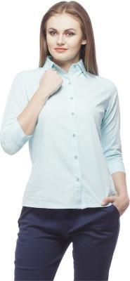 Peptrends Women's Solid Formal Blue Shirt