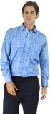 Silkina Men's Checkered Formal Light Blu...