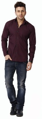 Rv Collection Men's Solid Casual Maroon Shirt