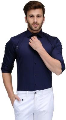 Edjoe Men's Solid Casual, Party Dark Blue Shirt