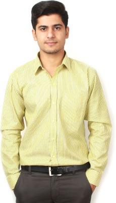 Frissk Men's Striped Formal Yellow Shirt