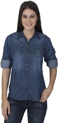 Tat Tvam Asi Women's Solid Casual Denim Dark Blue Shirt