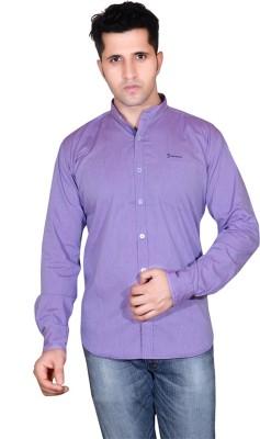 Denimize Men's Striped Casual Purple Shirt