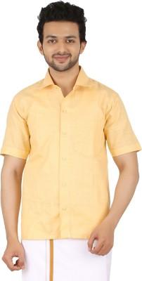 Prakasam Cotton Men's Self Design Formal Yellow Shirt