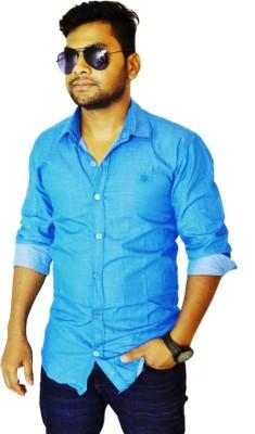 Heart Bit Men's Solid Casual Blue Shirt