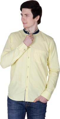 Robin Rider Men's Solid Casual Yellow Shirt