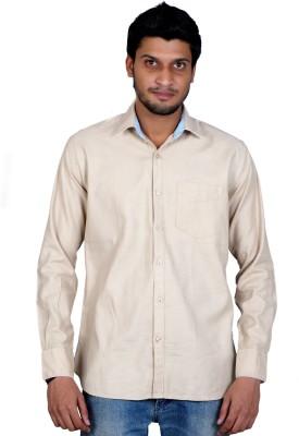 Falco Men's Solid Casual Linen Beige Shirt