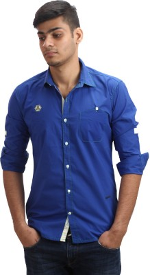 Fashion Bean Men's Solid Casual Blue Shirt