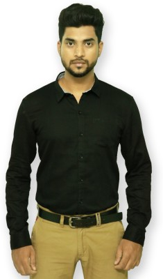 Indian Legacy Men's Solid Casual Black Shirt