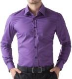 PSK Men's Solid Formal Purple Shirt