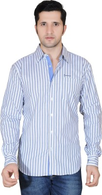Denimize Men's Striped Casual White Shirt